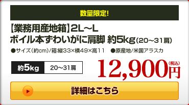 【業務用産地箱】2L〜Lボイル本ずわいがに肩脚 約5kg(20〜31肩)