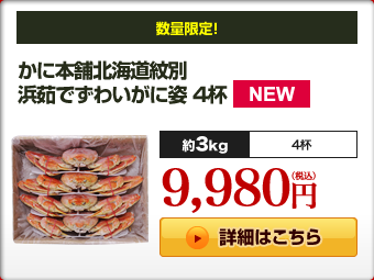 かに本舗北海道紋別 浜茹で ずわいがに姿 4杯