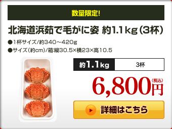 北海道浜茹で毛がに姿 約1.1kg(3杯)