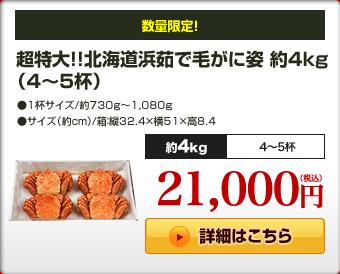 超特大!!北海道浜茹で毛がに姿約4kg(4〜5杯)