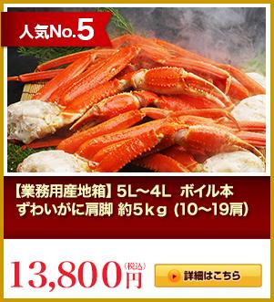人気No.5 【業務用産地箱】5L 生本ずわいがに肩脚 約5kg(10~14肩)