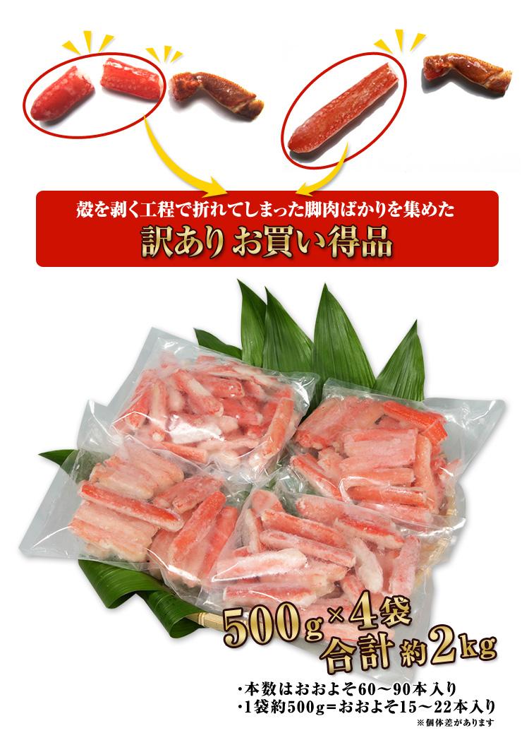 殻を剥く工程で折れてしまった脚肉ばかりを集めた  訳ありお買い得品500g×4袋合計約2kg、60~90本入り