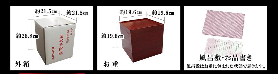 外箱約21.5cm×約21.5cm×約26.8cm、お重約19.6cm×約19.6cm×約19.6cm、風呂敷、お品書き