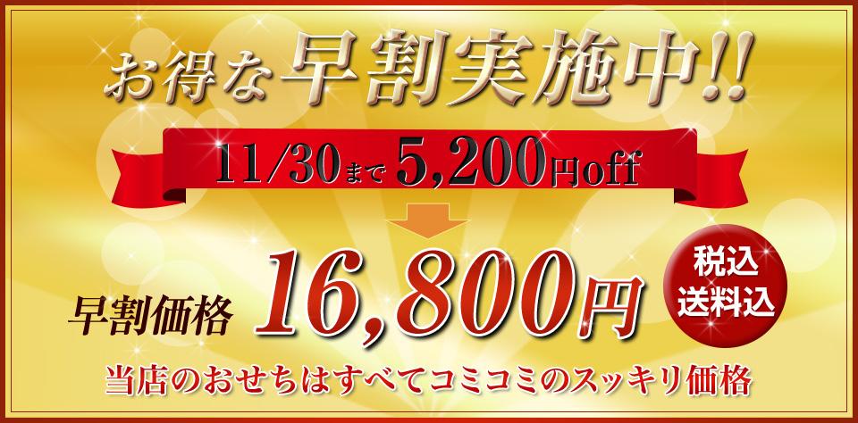 お得な早割実施中!11/30まで5,200円off 早割価格16,800円