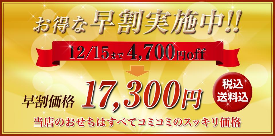 お得な早割実施中!12/15まで4,700円off 早割価格17,300円