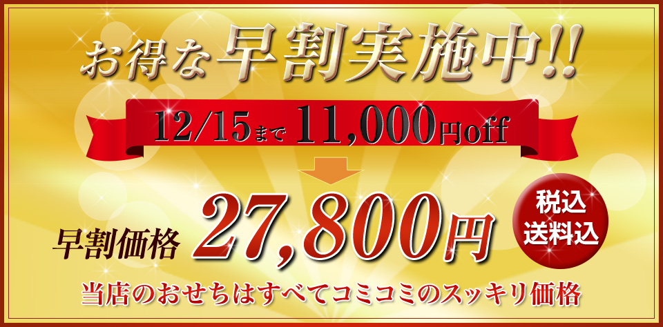 お得な早割実施中!12/15まで11,000円off 早割価格27,800円