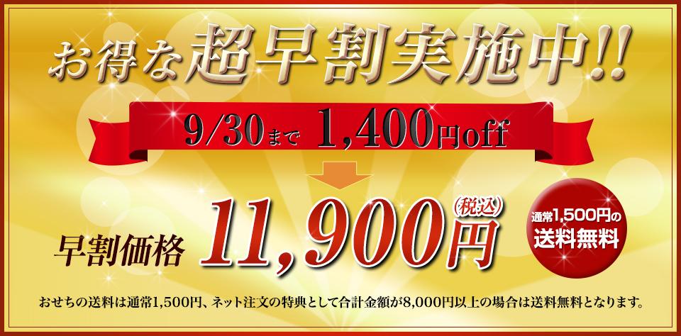 お得な早割実施中!9/30まで1,400円off 早割価格11,900円