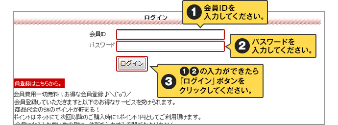 1.会員IDを入力してください。2.パスワードを入力を入力してください。3.1と2が入力できたら「ログイン」ボタンをクリックしてください。