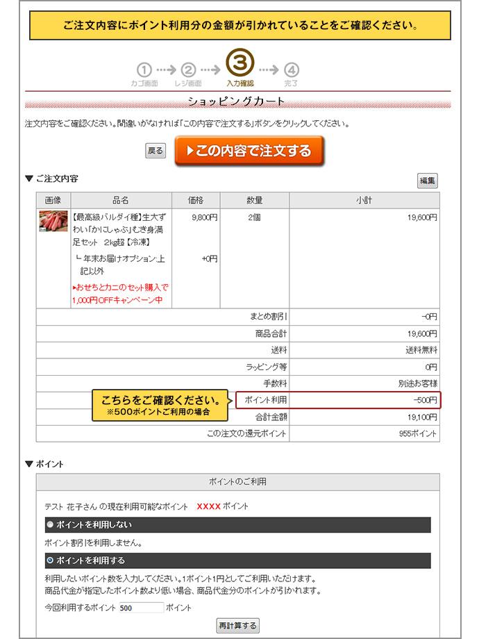 ご注文内容にポイント利用分の金額が引かれていることをご確認ください。